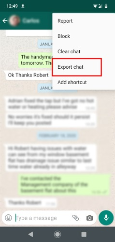تصدير سجل دردشة Whatsapp إلى الكمبيوتر