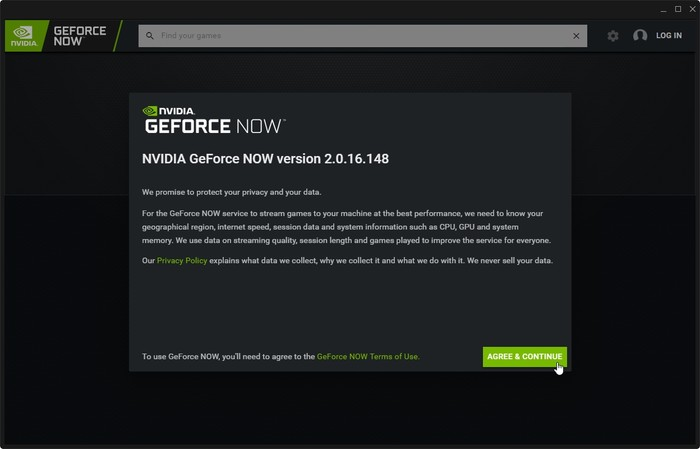 Geforce Now Game Streaming Client Agree