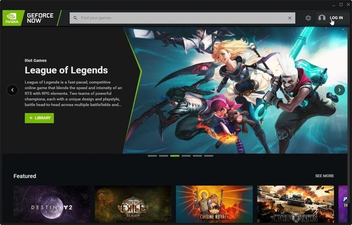 Geforce Now Game Streaming Log In Link