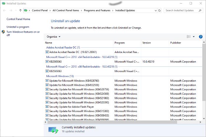 disinstalla gli aggiornamenti di windows 10