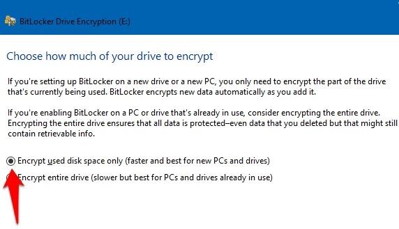 Password Protect Files Folders Windows 10 Bitlocker Encrypt Used Disk Space