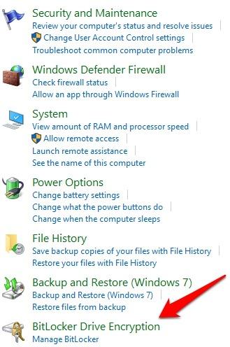 Password Protect Files Folders Windows 10 Control Panel System Security Bitlocker Drive Encryption
