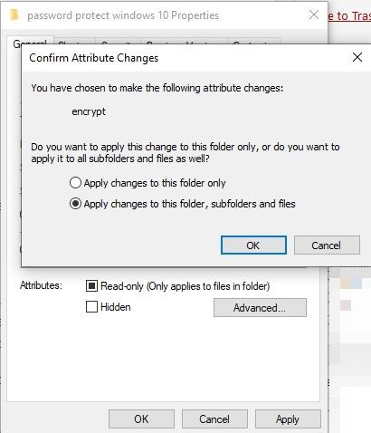 Password Protect Files Folders Windows 10 Folder Properties Attribute Changes