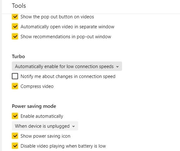 المتصفحات خفيفة الوزن Yandex Turbo Mode توفير الطاقة