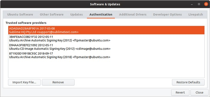 Ubuntu Repository Gui Management Key Added