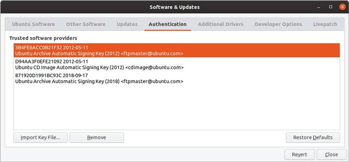 Ubuntu Repository Gui Management Key List