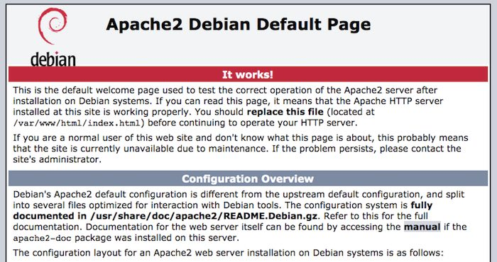 Enter your Raspberry Pi's IP address and you should see Apache's default webpage.