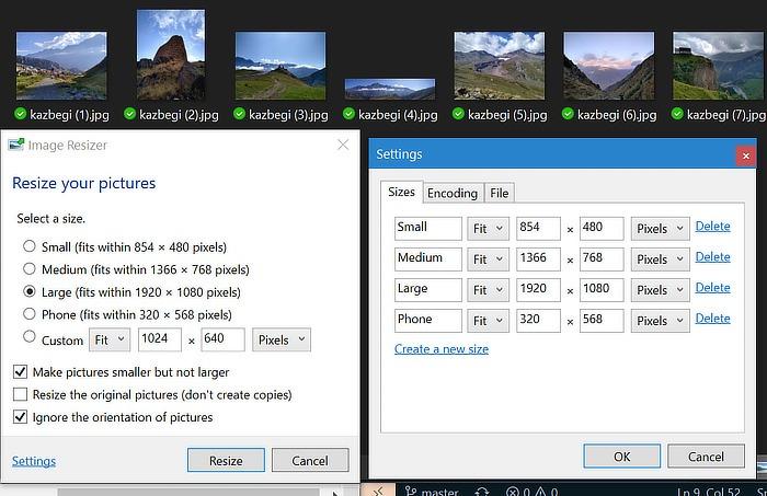 Powertoys छवि Resizer सेटिंग्स