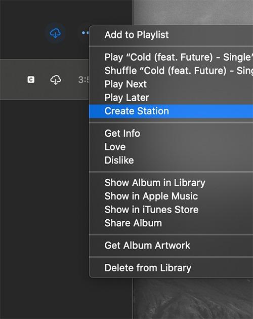 محطة راديو Apple Music إنشاء محطة Macos