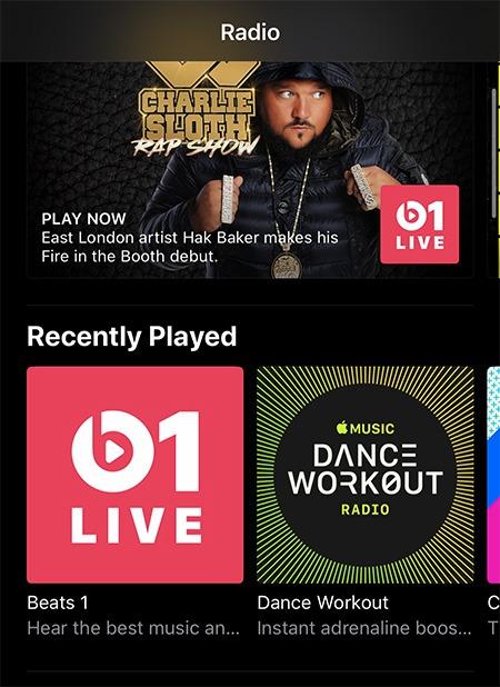 محطة راديو موسيقى Apple Ios