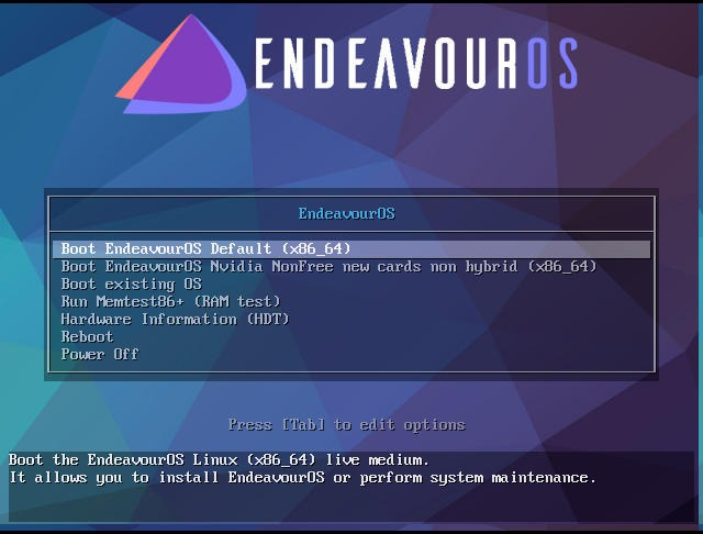 Endeavouros Boot Option Page
