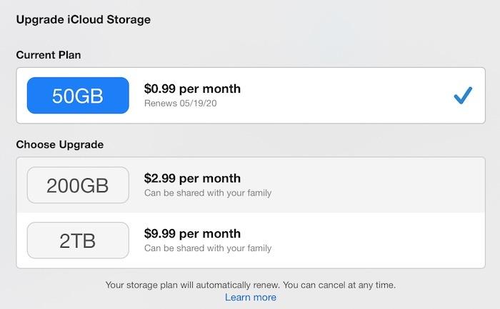تعرف على المزيد Apple Icloud Upgrade Storage