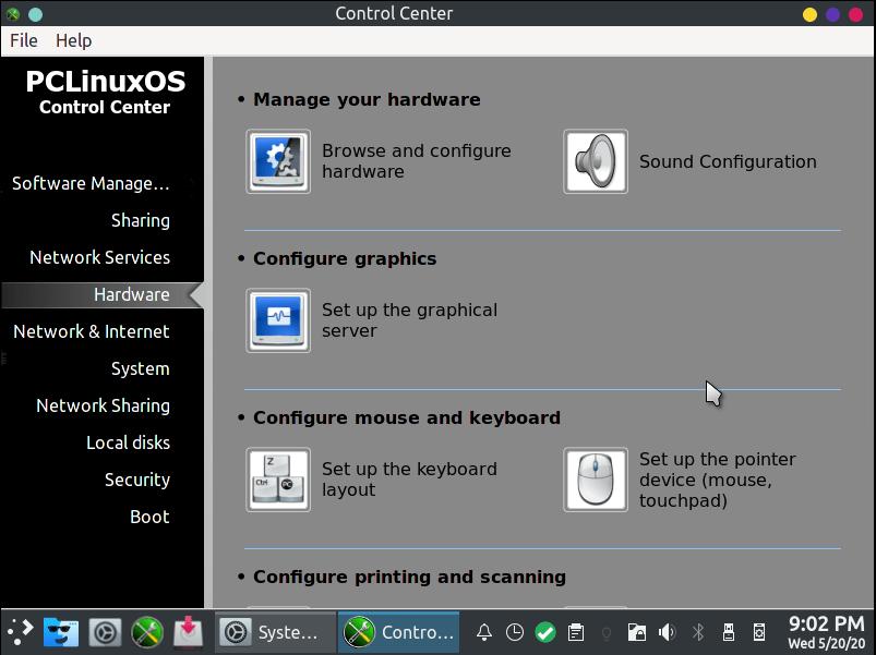 Pclinuxos System Settings