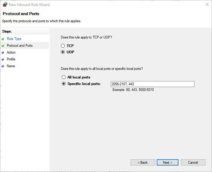 إعداد Port Forwarding Windows 10 New Rule Wizard