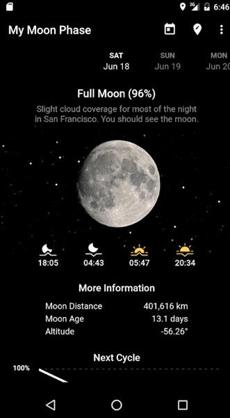 दिखाएँ चंद्र चंद्रमा चरणों कैलेंडर Android