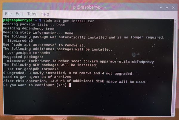 You can install the Tor software on your Raspberry Pi, using a single command.