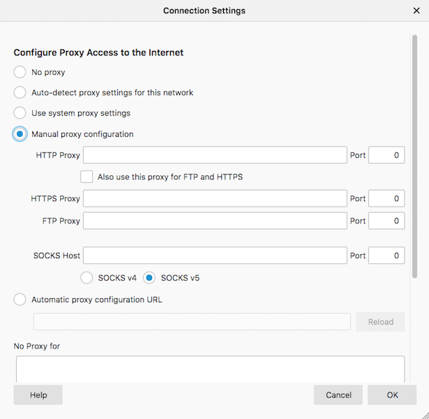 "Open Mozilla's ""Connection Settings"" and select ""Manual proxy configuration."""