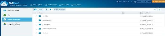 Google डिस्क मल्टीक्लाउड यूजर इंटरफेस ट्रांसफर करें