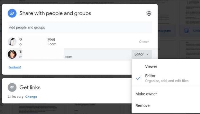 Google डिस्क शेयर मेक ओनर को स्थानांतरित करें