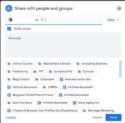 Google ड्राइव शेयर संदेश स्थानांतरित करें
