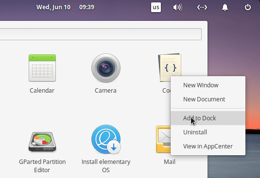 Elementary Add To Dock