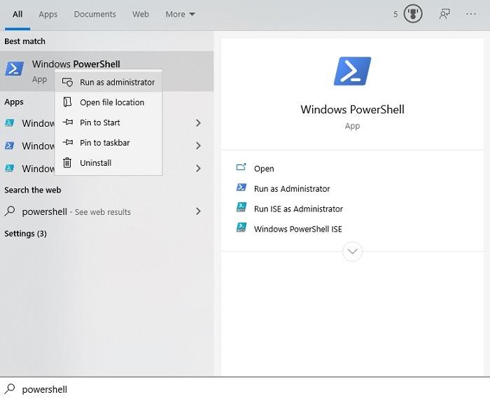 विंडोज मई 2020 के बाद Cortana को कैसे अनइंस्टॉल करें अपडेट ओपन पॉवरशेल एडमिन