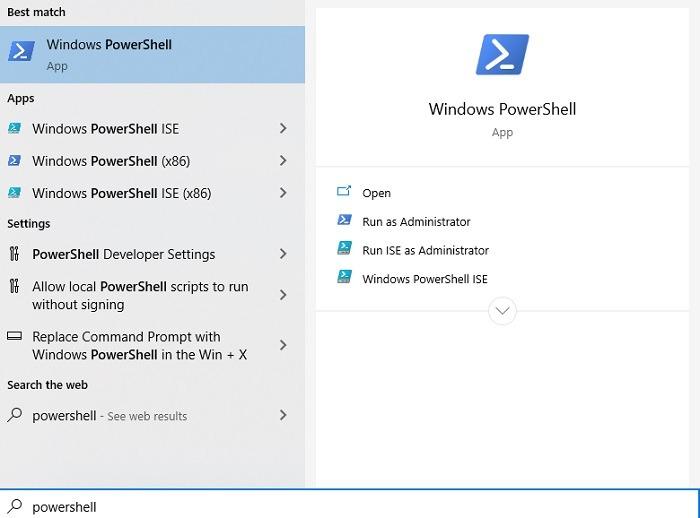 विंडोज मई 2020 के बाद Cortana को कैसे अनइंस्टॉल करें अपडेट पॉवर्सशेल खोलें