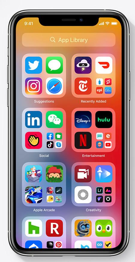 مكتبة تطبيقات iOS 14