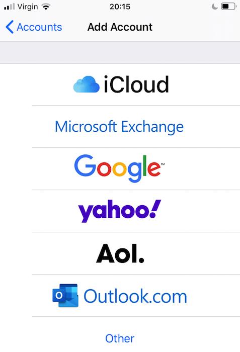 ابحث عن Google ، وانقر فوق لإضافة حساب Google إلى جهاز iOS الجديد الخاص بك.