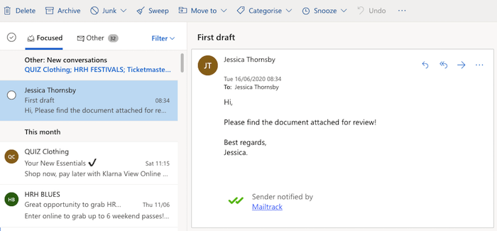 """تحتوي جميع رسائل البريد الإلكتروني التي تم تمكين إيصالات الاستلام عليها على توقيع """"MailTrack""""."""