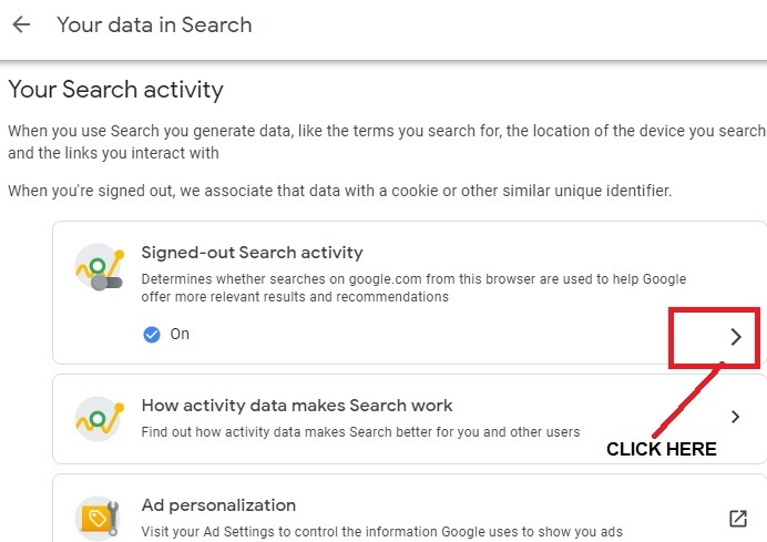 إخفاء هوية بحث تسجيل الخروج من Google انقر 1