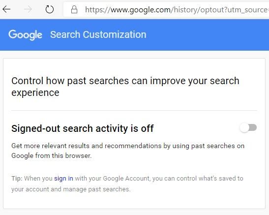 مجهول جوجل تسجيل الخروج بحث قبالة 1