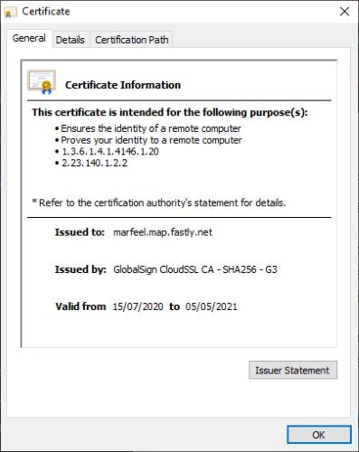 شهادة خطأ خصوصية Chrome