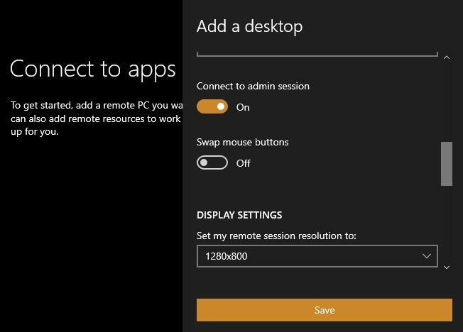 Microsoft Rd कनेक्शन सेटिंग्स