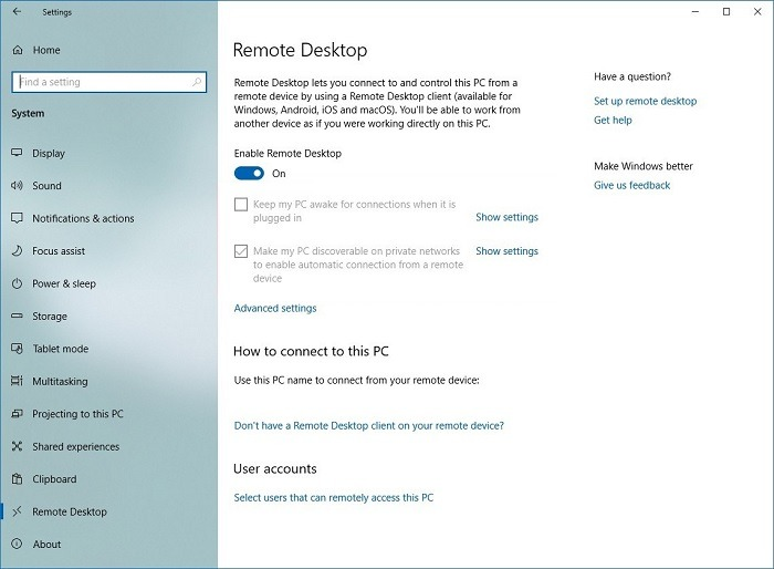 Microsoft Rd दूरस्थ डेस्कटॉप सेटिंग्स 1