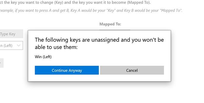 Remap Windows Key Confirm Remap