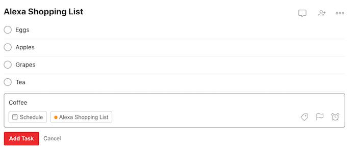 Todoist Amazon Alexa إضافة مهمة