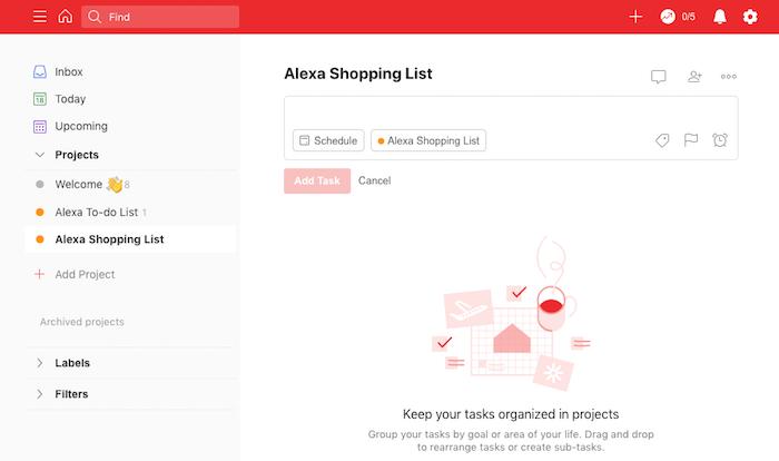 ستتم مزامنة أي عناصر تضيفها أو تزيلها أو تعدلها عبر أوامر Alexa مع حساب Todoist الخاص بك.
