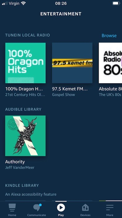एलेक्सा के ट्यूनइन एकीकरण के माध्यम से स्थानीय रेडियो स्टेशनों को सुनें।