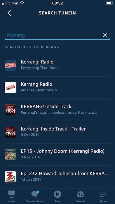 आप एंड्रॉइड और आईओएस के लिए एलेक्सा स्मार्टफोन और मोबाइल ऐप में, नाम से एक रेडियो स्टेशन खोज सकते हैं।