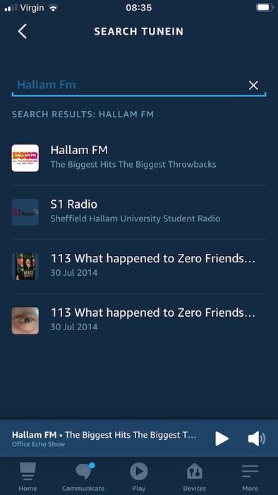 आप अमेज़ॅन एलेक्सा ऐप के माध्यम से रेडियो स्टेशनों को खेल सकते हैं और रोक सकते हैं, और अपने कनेक्टेड एलेक्सा-सक्षम डिवाइस पर वॉल्यूम बदल सकते हैं।