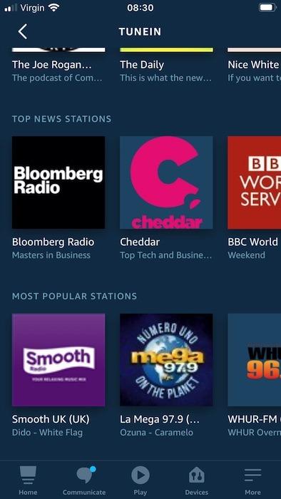 ट्यूनइन सबसे लोकप्रिय समाचार और रेडियो स्टेशनों को प्रदर्शित करता है।