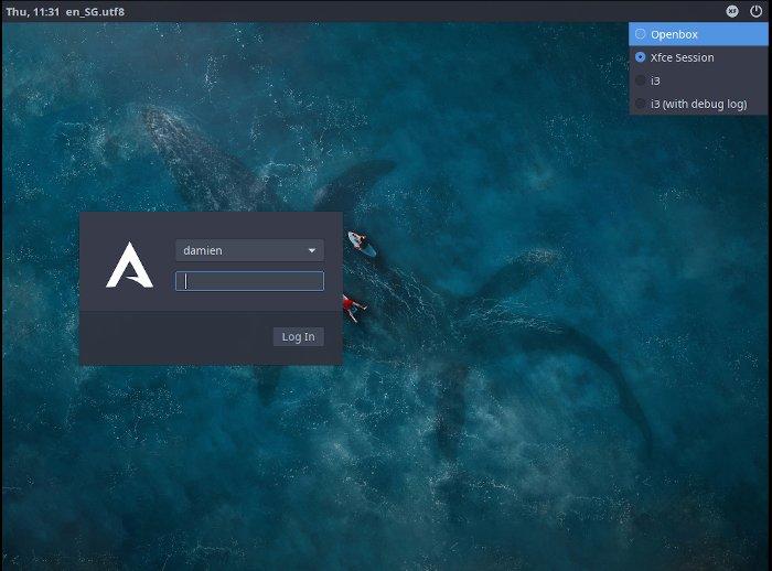 Arcolinux Desktop Manager Session 1