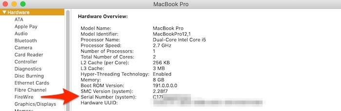 تقرير نظام الرقم التسلسلي لـ Six Ways Macbook