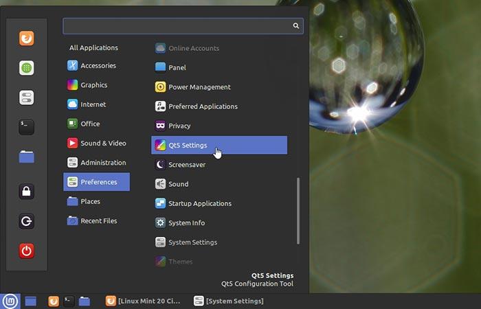 Ubuntu Vs Mint Prefs Menu