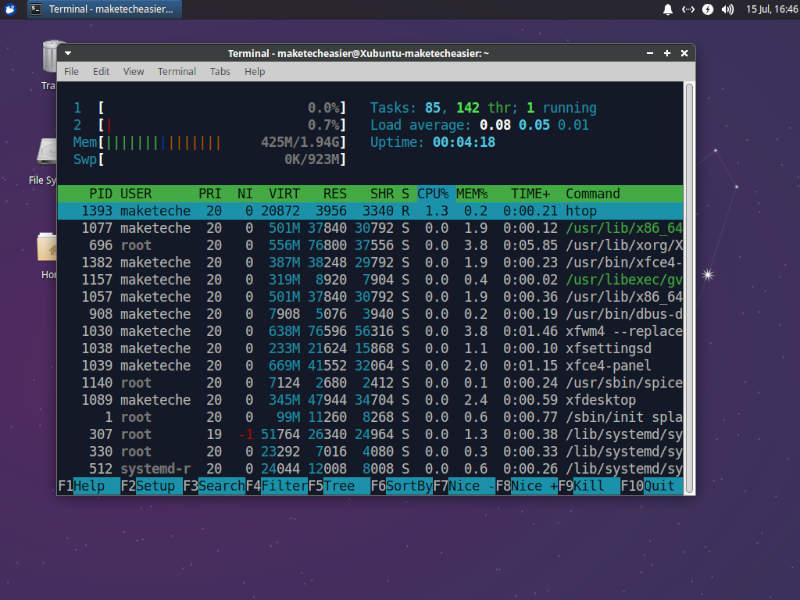Xfce Xubuntu Htop