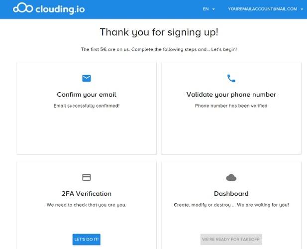 Clouding.io खाता पुष्टि 1