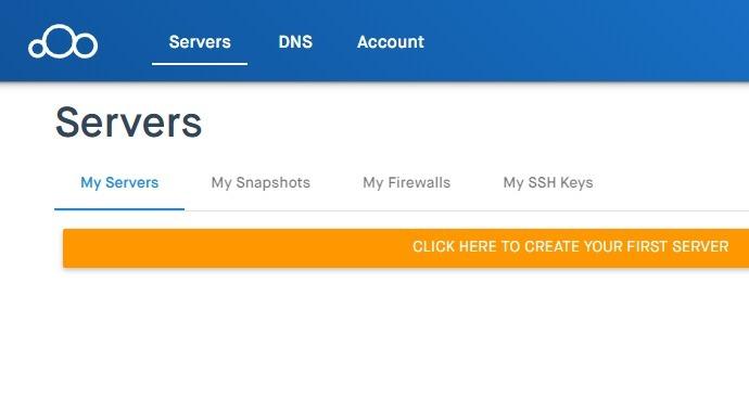 Clouding.io पहले सर्वर बनाएँ पर क्लिक करें