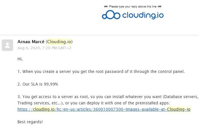 Clouding.io ग्राहक सहायता