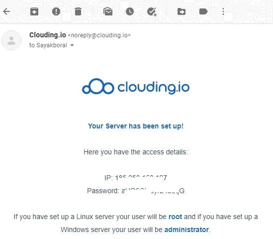 Clouding.io सर्वर खाता 1